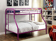 Furniture of America Rainbow Twin/Full Bunk Bed Purple