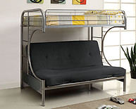 Furniture of America Rainbow Twin/Futon Base Bunk Bed Silver