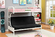 Furniture of America Rainbow Twin/Futon Base Bunk Bed White