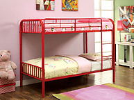 Furniture of America Rainbow Twin/Twin Bunk Bed Red