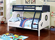 Furniture of America Nautia Bunk Bed Blue & White