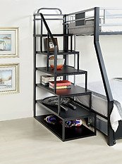 Furniture of America Clifton Storage Ladder Silver & Black