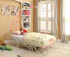 Furniture of America Enchant Twin Bed Pink & White