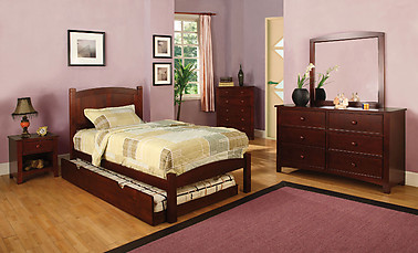 Furniture of America Cara Collection 4-Piece Set Cherry