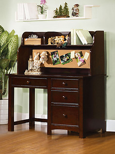 Furniture of America Omnus Desk with Hutch Dark Walnut