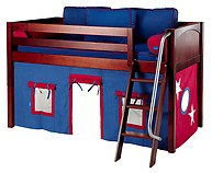 Maxtrix Easy Rider 21 Low Loft Bed with Angle Ladder and Curtain