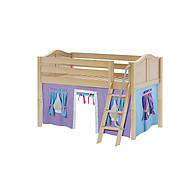 Maxtrix Easy Rider 27 Low Loft Bed with Angle Ladder and Curtain