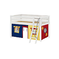 Maxtrix Easy Rider 29 Low Loft Bed with Angle Ladder and Curtain