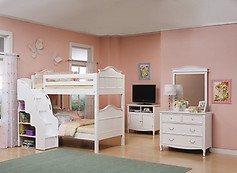 Bolton Furniture Emma Bunk Bed w/ Stairs, White