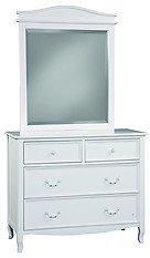 Bolton Furniture Emma 4-Drawer Dresser and Mirror Set White