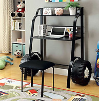 Furniture of America Power Racer II Desk with Stool Black