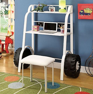 Furniture of America Power Racer II Desk with Stool White
