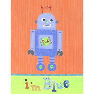 Little Acorn Blue Robot I'm Blue Wall Art
