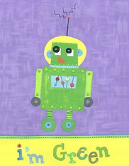 Little Acorn I'm Green Robot Wall Art
