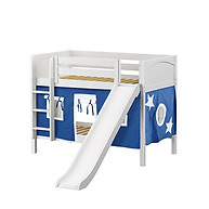 Maxtrix SMILE 22 Low Bunk Bed with Straight Ladder, Slide & Curtain