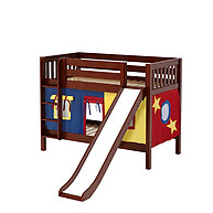 Maxtrix SMILE 29 Low Bunk Bed with Straight Ladder, Slide & Curtain