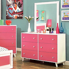 Furniture of America Alivia Dresser Pink & White