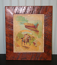Vintage Canvas Print w/ Hand Painting (Boys Boat & Horse)