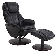 Mac Motion Comfort Breathable Air Leather Swivel Recliner with Ottoman Black