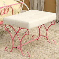 Furniture of America Enchant Bench Pink & White