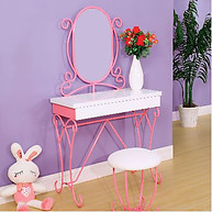 Furniture of America Enchant Vanity with Stool Pink & White
