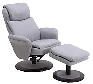 Mac Motion Comfort Chair Fabric Swivel Recliner with Ottoman Light Grey
