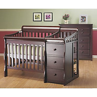 Sorelle Furniture Newport Porta Crib with Changer Merlot