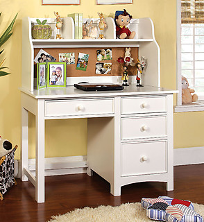 Furniture of America Omnus Desk with Hutch White