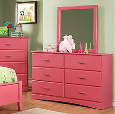 Furniture of America Prismo Dresser Pink