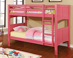 Furniture of America Prismo II Bunk Bed Pink