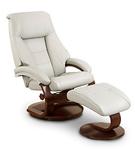 Mac Motion Oslo Top Grain Leather Swivel Recliner with Ottoman Putty