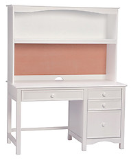 Bolton Furniture Wakefield Pedestal Desk with Hutch Set White
