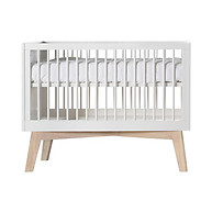 Kidsmill Sixties Convertible Crib White with Oak Legs