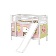 Maxtrix SMILE 25 Low Bunk Bed with Straight Ladder, Slide & Curtain