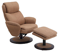 Mac Motion Comfort Fabric Swivel Recliner with Ottoman Taupe