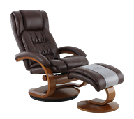 Mac Motion Oslo Breathable Air Leather Recliner with Ottoman Whisky