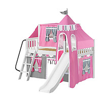 Maxtrix WOW 57 Low Loft Bed with Angled Ladder, Tower, Top Tent & Curtain and Slide